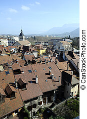 Annecy city, roofs, church and lake, Savoy, France :...