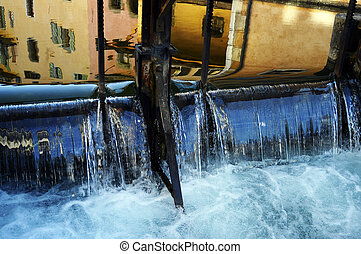 Annecy city, Thiou canal and Art market, Savoy, France -...