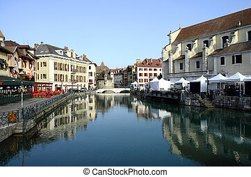 Annecy city, Thiou canal and Art market, Savoy, France