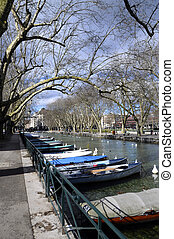 Annecy city, Thiou canal and boats,, Savoy, France
