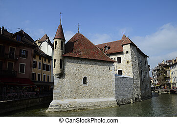 Annecy city, Thiou canal and old prison, Savoy, France
