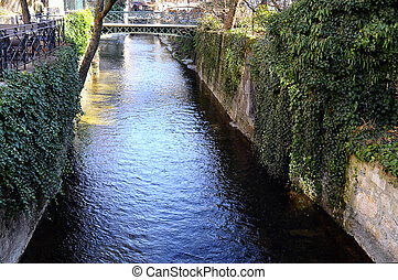 Annecy city, Thiou canal, Savoy, France - Annecy city, Thiou...