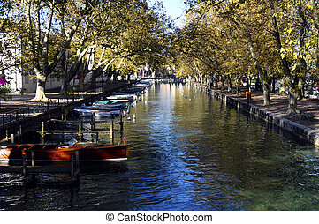 Annecy city, Thiou canal, Savoy, France