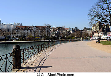 Annecy city, Thiou canal, Savoy, France : walk path