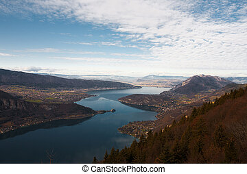 A birds eye view of Annecy Lake at the foot of the French Alps.