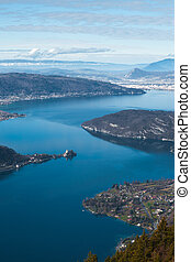 Annecy Lake Aerial V - An aerial view of Annecy Lake from...