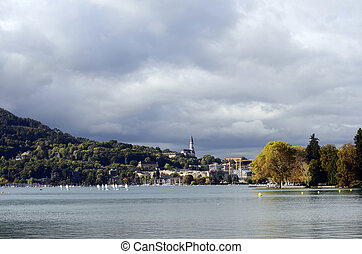 Annecy lake and city, autumn landscape
