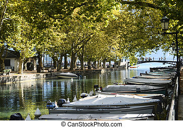 Annecy lake and city, bridge of the loves and Thiou canal,...
