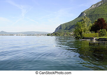 Annecy lake and city by quiet morning