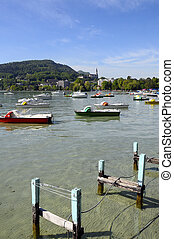 Annecy lake and city in France - View of Annecy city and its...