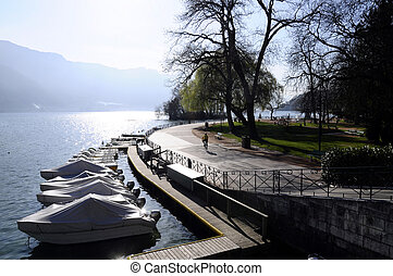 Annecy lake and city, walkpath of Europe's garden, savoy,...