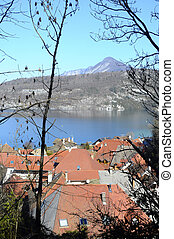 Annecy lake and Duingt village, Savoy, France