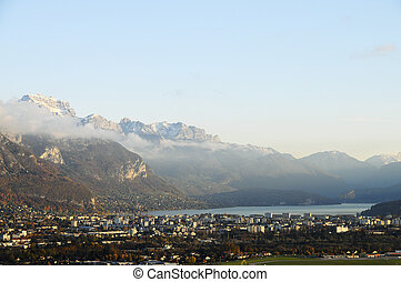 Annecy lake and mountains - Annecy lake, Annecy town and...