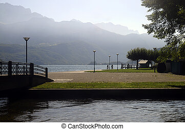 Annecy lake and mountains from Saint-Jorioz beach, France