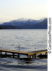 Annecy lake and mountains - Wooden pontoon and Annecy lake...