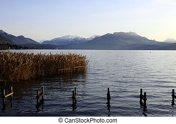 Annecy lake and mountains, Savoy, France