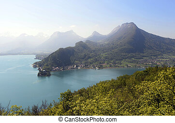 Annecy lake and mountains from Roc de chere, France