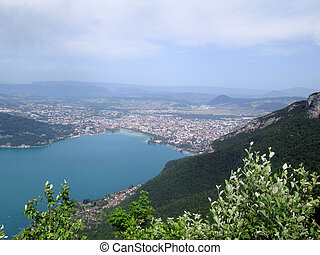 Annecy lake and town - Large view of Annecy lake and city,...