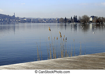 Annecy lake and view of city, Savoy, France