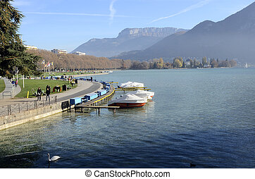 Annecy lake and view of Paquier landscape in Savoy, France