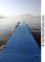 Annecy lake blue pontoon, France