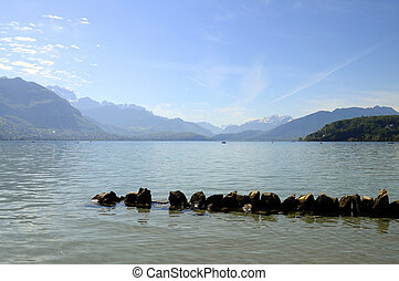 Annecy lake from city - Large view of Annecy lake and...