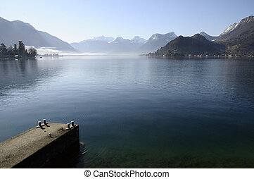 Annecy lake from talloires and pontoon