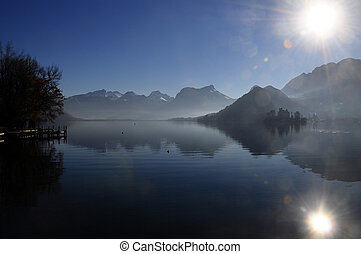Annecy lake landscape in Talloires, France