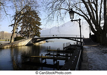 Annecy lake love bridge from city