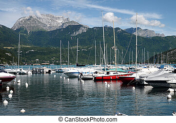 Annecy lake, marina of Saint Jorioz and Tournette mountains...