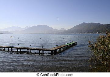 Annecy lake on morning in France
