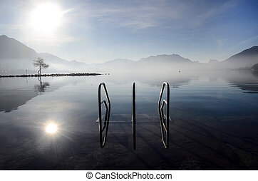 Annecy lake on morning, Savoy, France