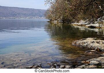 Annecy lake rock beach