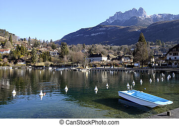 Annecy lake, Talloires bay and village, Savoy, France