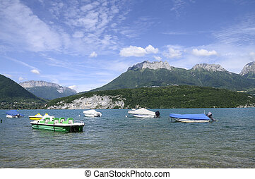Annecy lake with boats