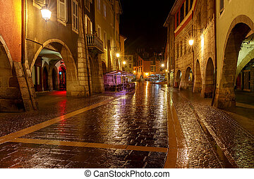 Annecy. Old city at night.