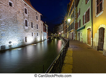 Annecy. Old city on the sunset.