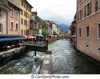 Annecy old town and canal, Savoy, France - Annecy medieval...