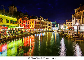 Annecy Old Town, Savoy, France, at night