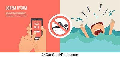 annegamento, emergenza, help., grida, numero, telefono, ...