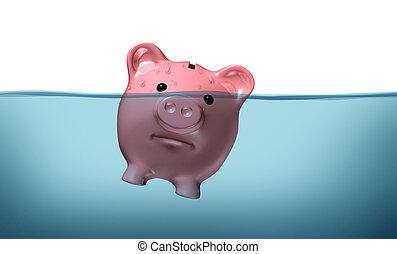 annegamento, in, debito
