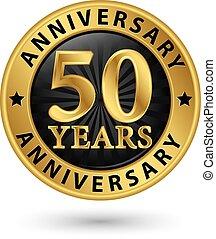 anni, anniversario, oro, etichetta, vettore, illustrazione