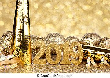 anni, nuovo, vigilia, 2019, fondo, decorazioni, bagliore