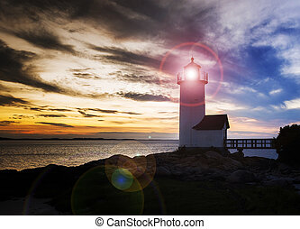 Annisquam lighthouse at sunset