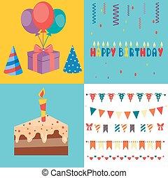 anniversaire, éléments, -, illustration, vecteur, fête