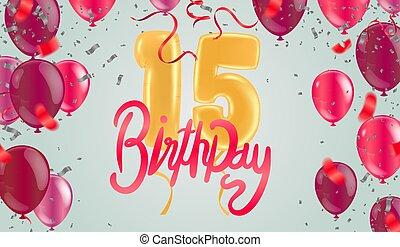 anniversaire, 15e, coloré, heureux, ballons, fond, fête
