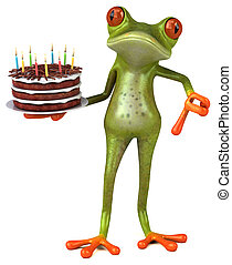 anniversaire, amusement, grenouille, 3d, -, illustration, gâteau