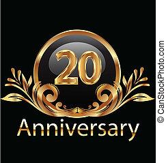 anniversaire, années, anniversaire, 20