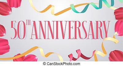 anniversaire, années, vecteur, icône, logo, 50