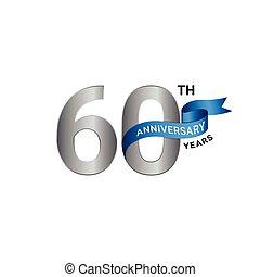anniversaire, argent, couleur, 60th, bleu, années
